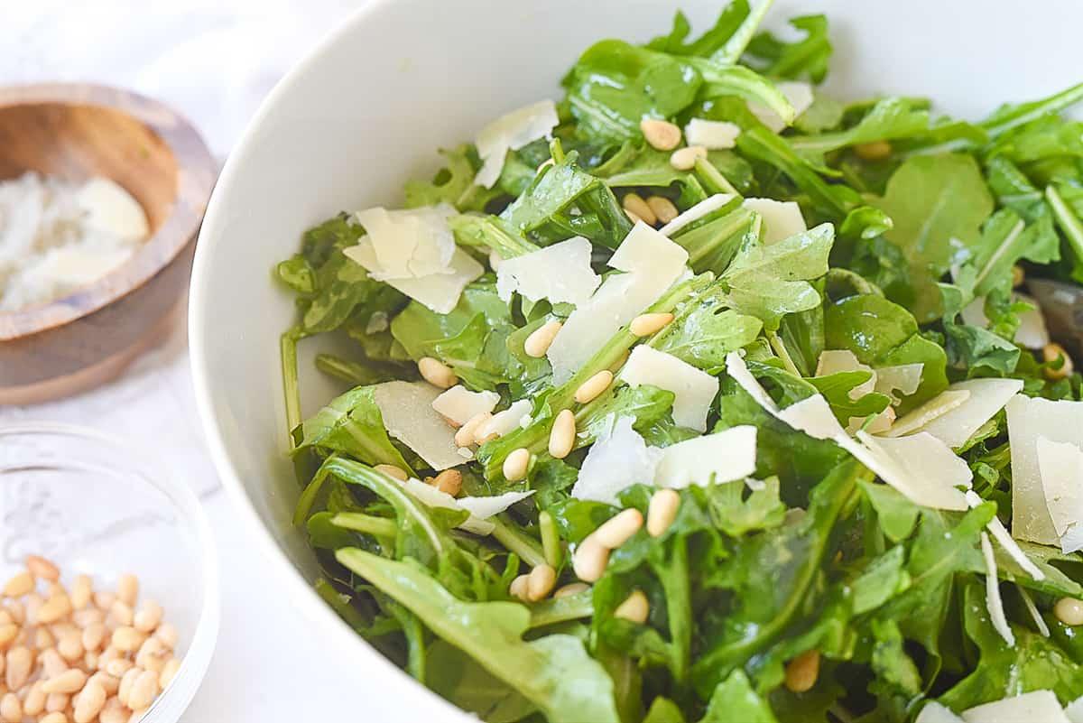 easy arugula salad in a bowl
