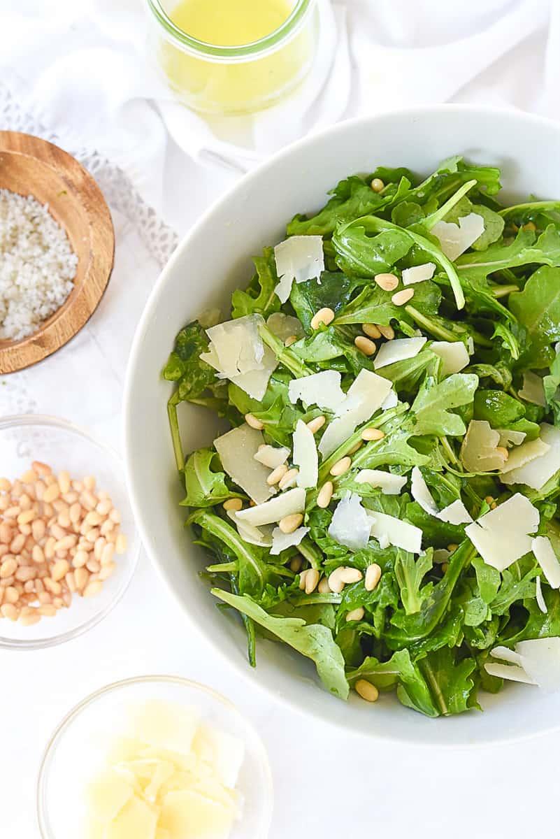 overhead shot of a simple arugula salad