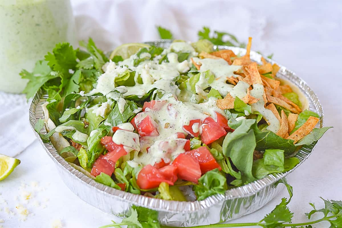 side view of a cafe rio pork salad