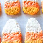 overhead shot of candy corn rice krispie treats