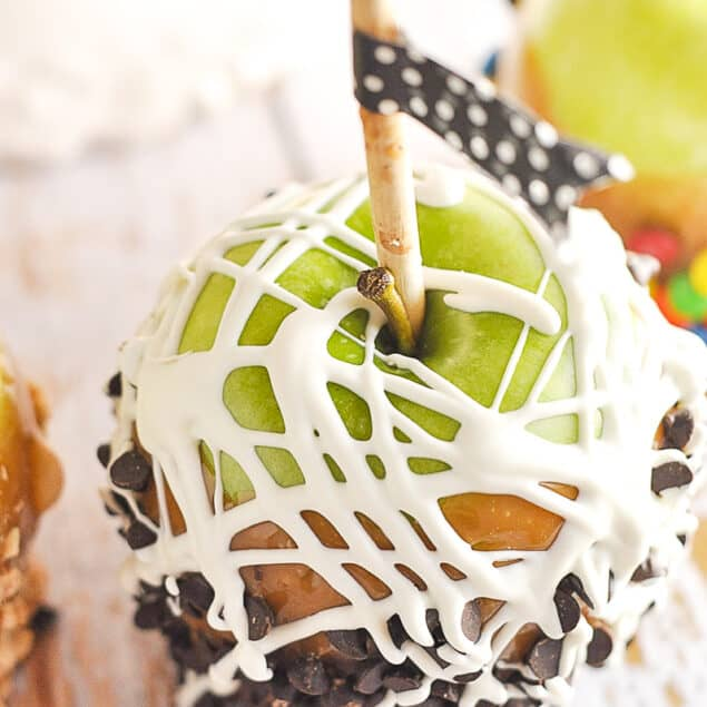 caramel apple drizzled with choclate