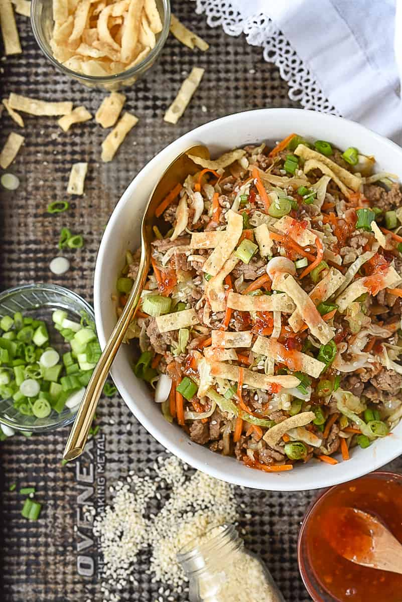 overhead shot of egg roll in a bowl