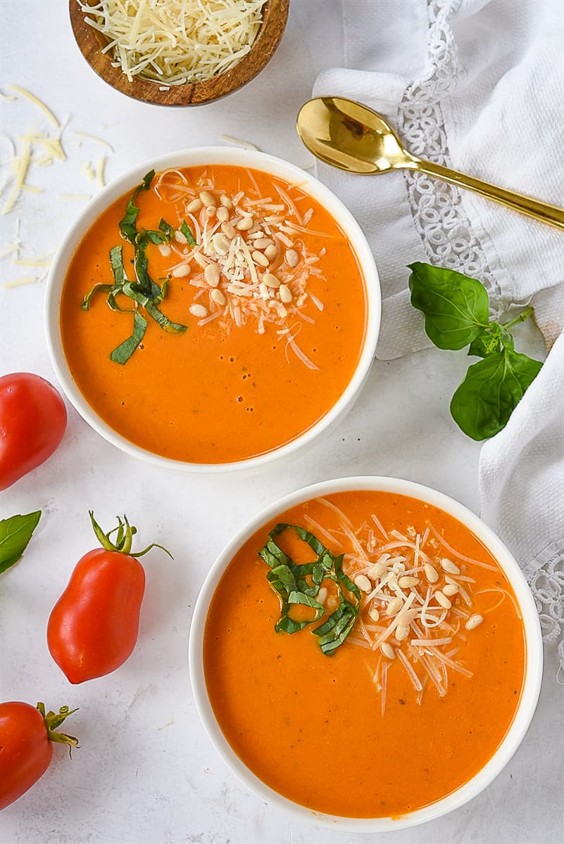 overhead shot of bowls of tomato soup