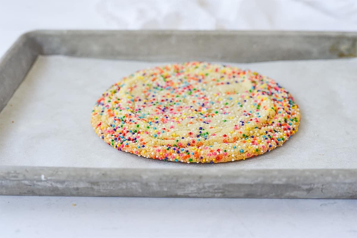 sugar cookie on baking sheet