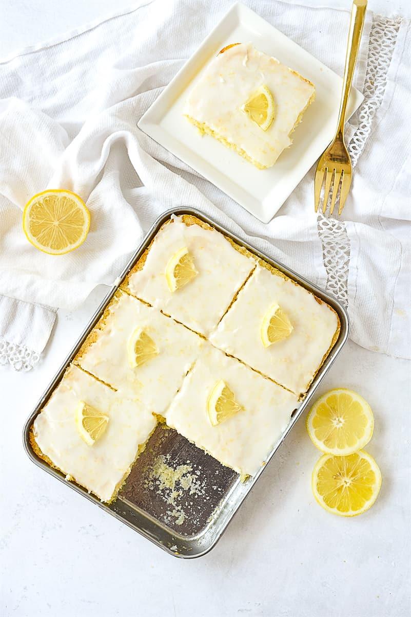 overhead shot of lemon sheet cake for two