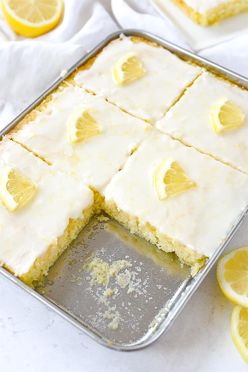 lemon sheet cake for two people