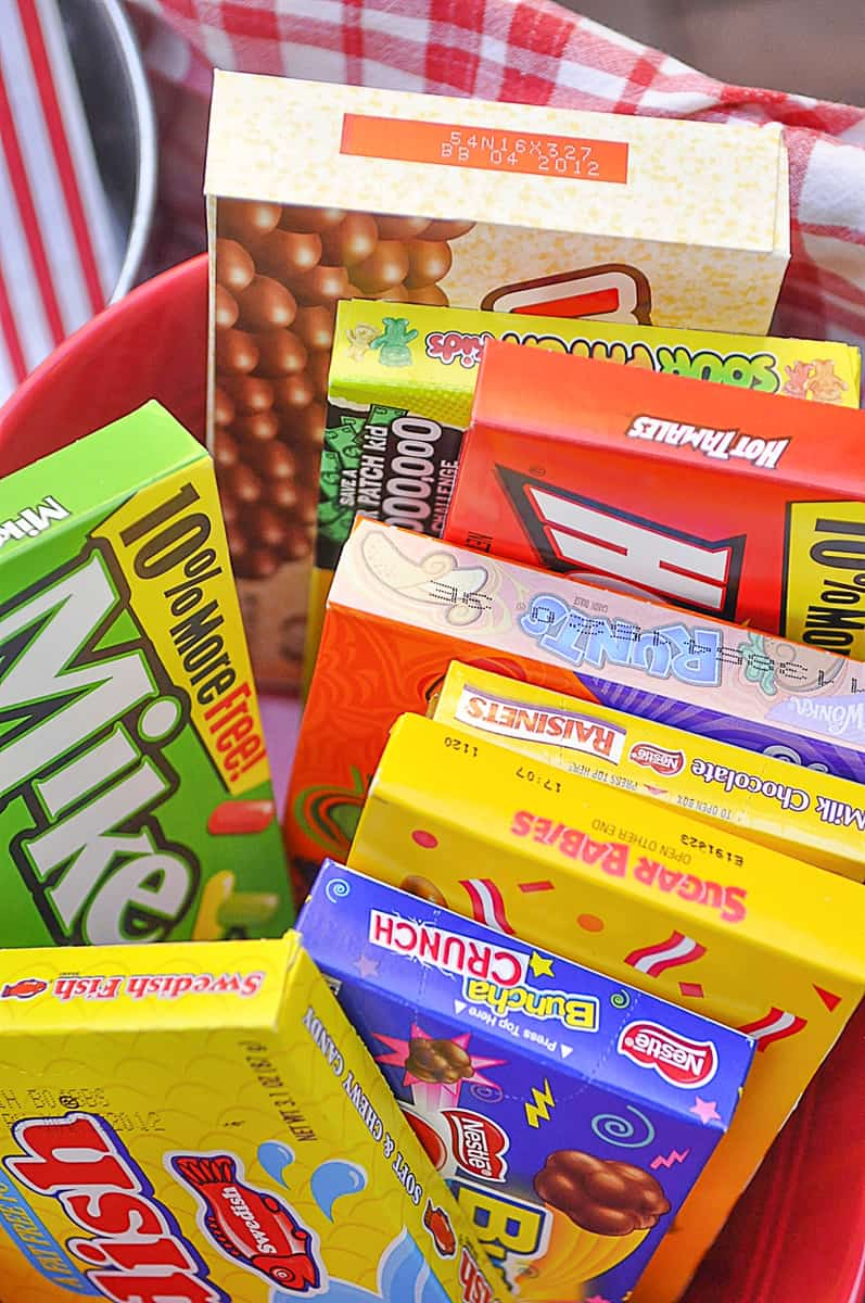 boxes of  movie candy