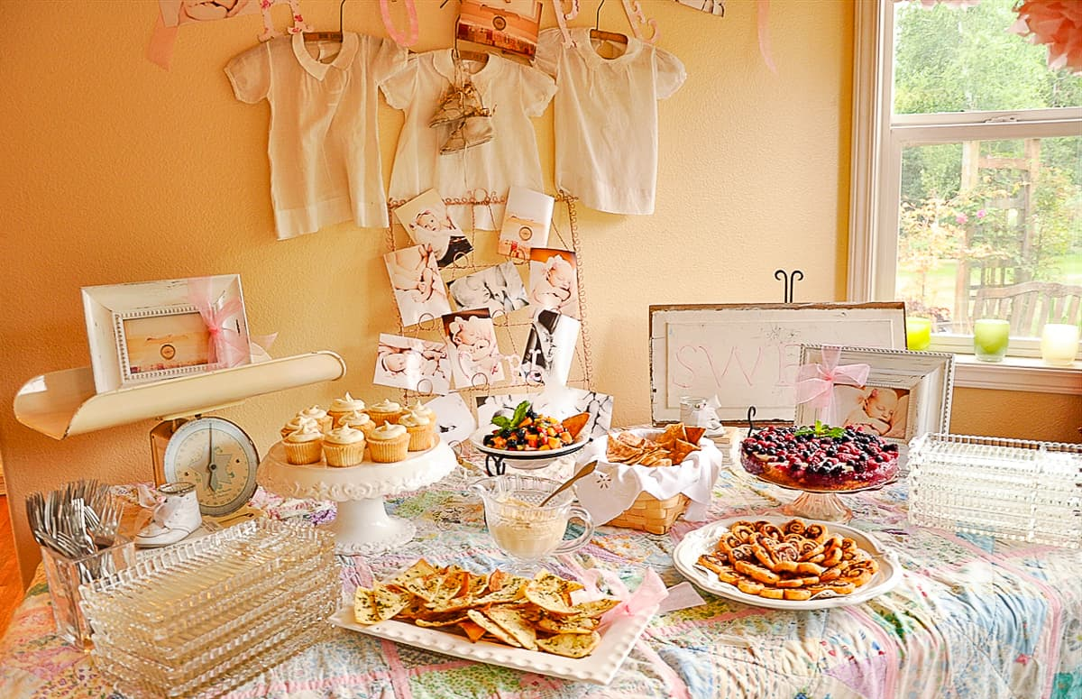table for vintage baby shower