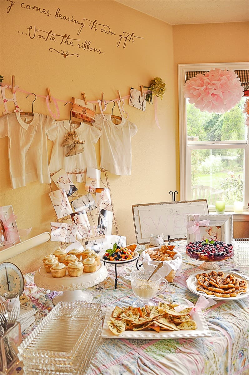 Vintage Baby shower food table