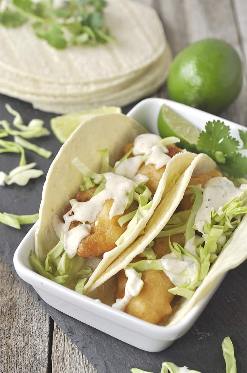 two baja fish tacos