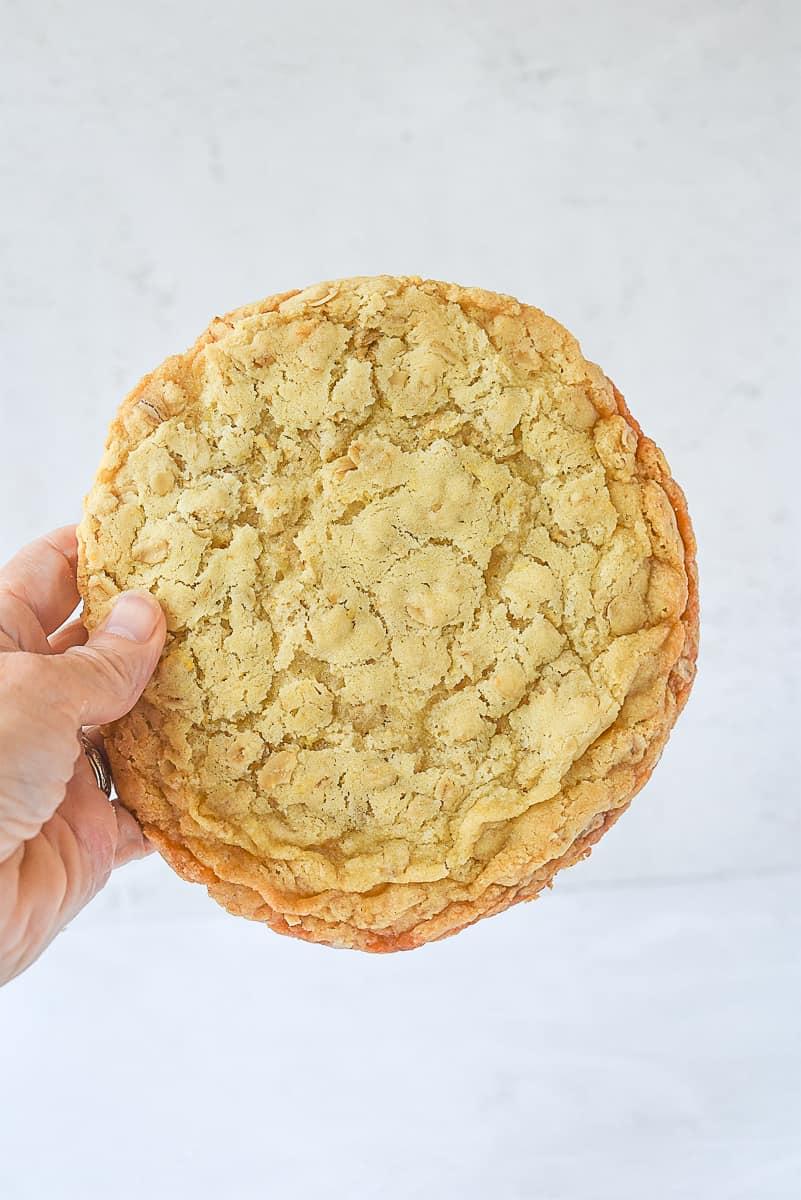 lemon oatmeal cookie in a hand