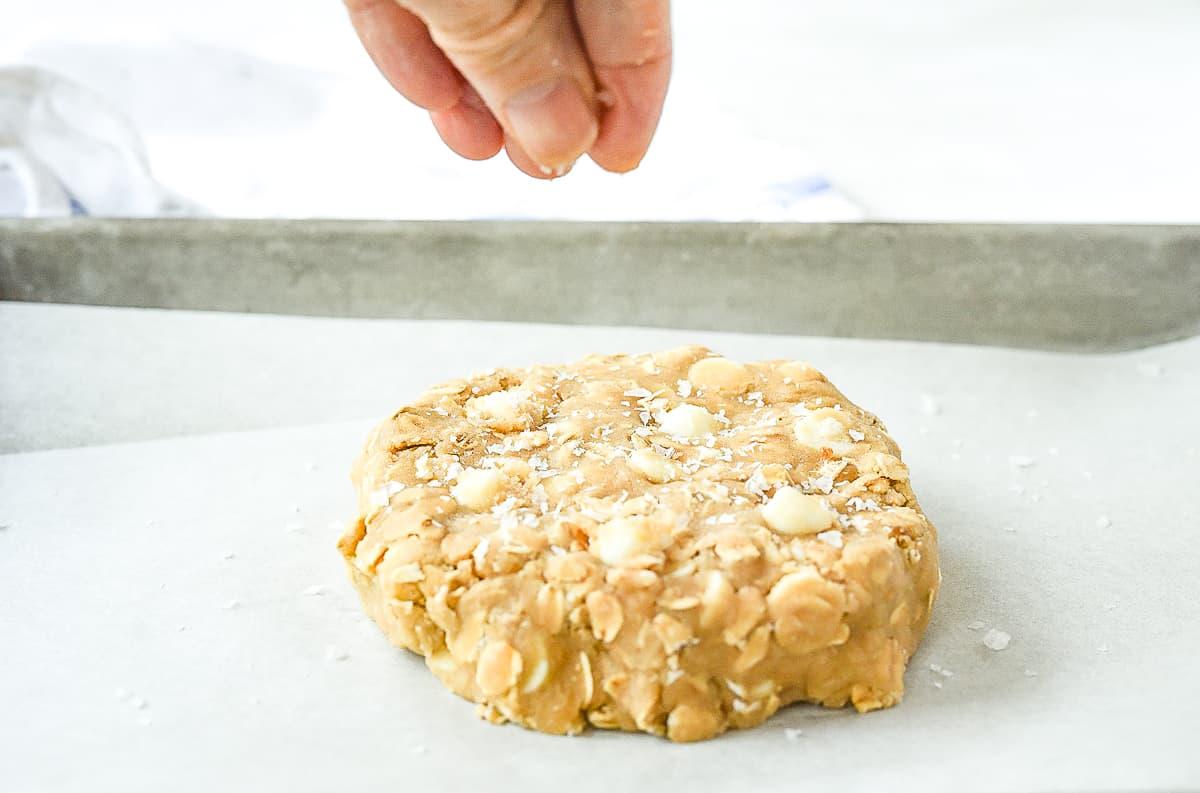 Sprinkling salt on cookie dough