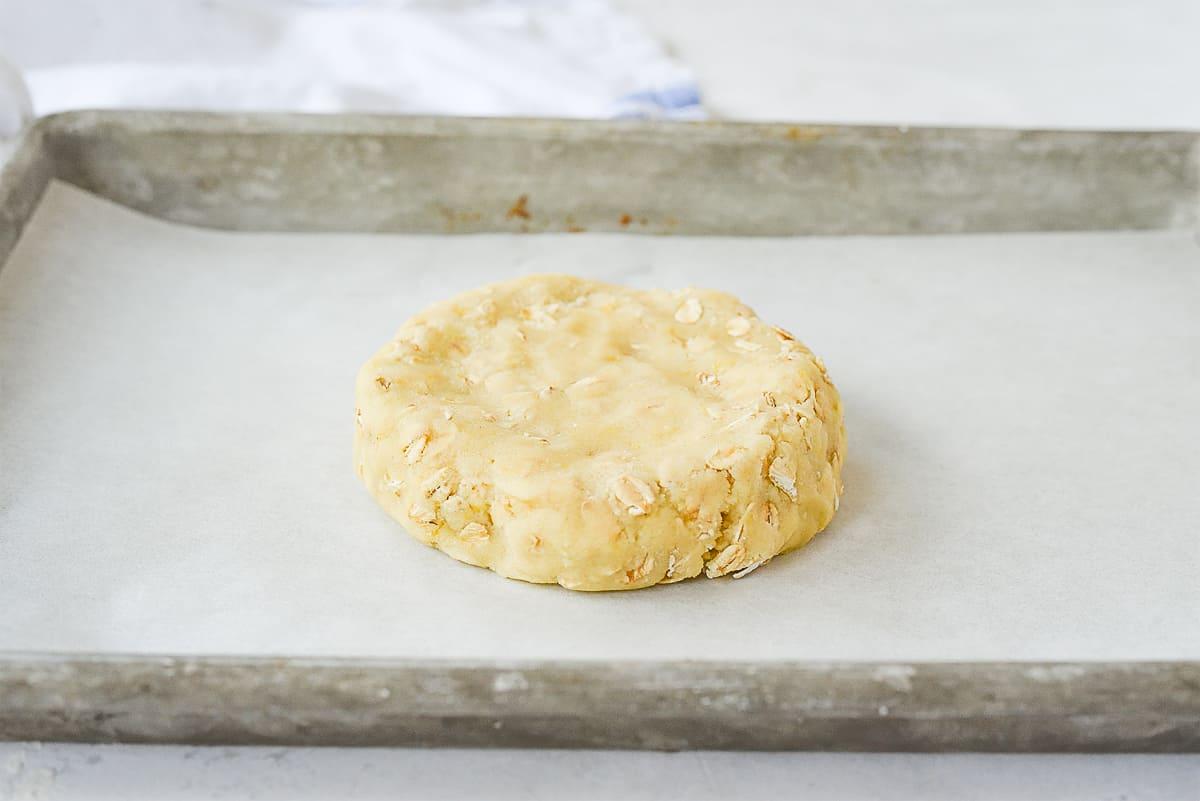 lemon oatmeal cookie dough on baking sheet