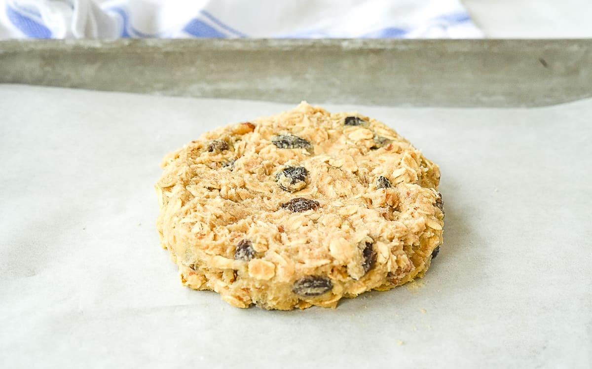 oatmeal cookie dough on baking sheet