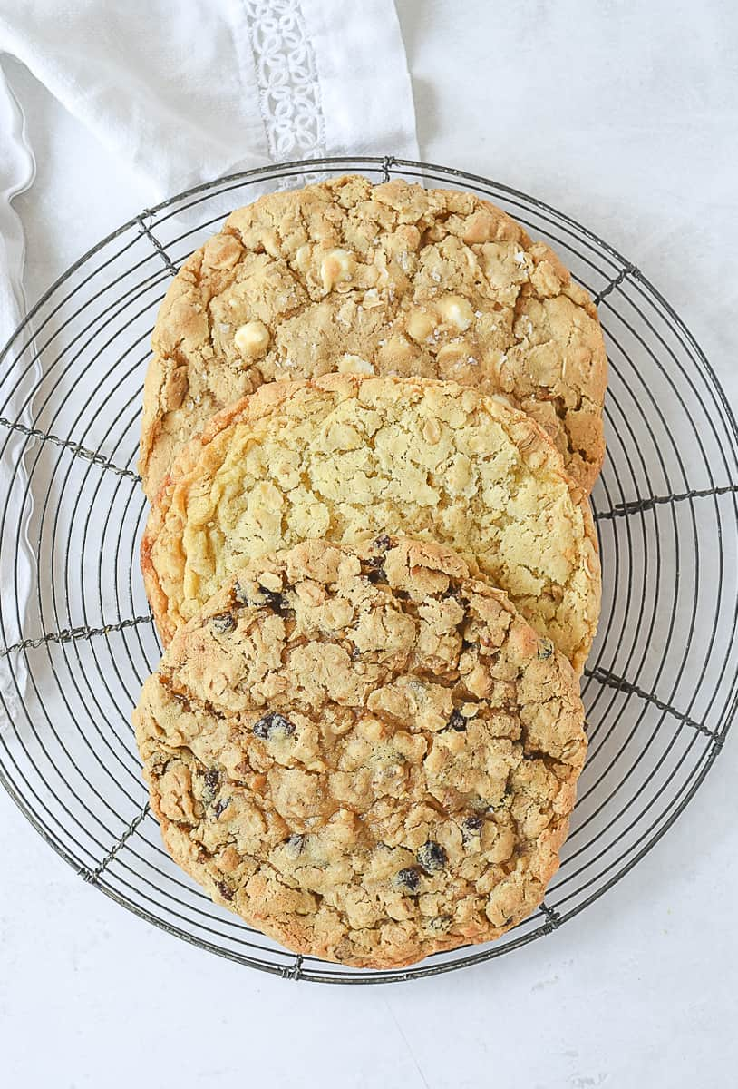 overhead shot of 3 different oatmeal cookies