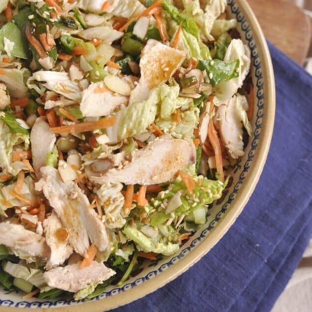 overhead shot of a bowl of ginger sesame salad