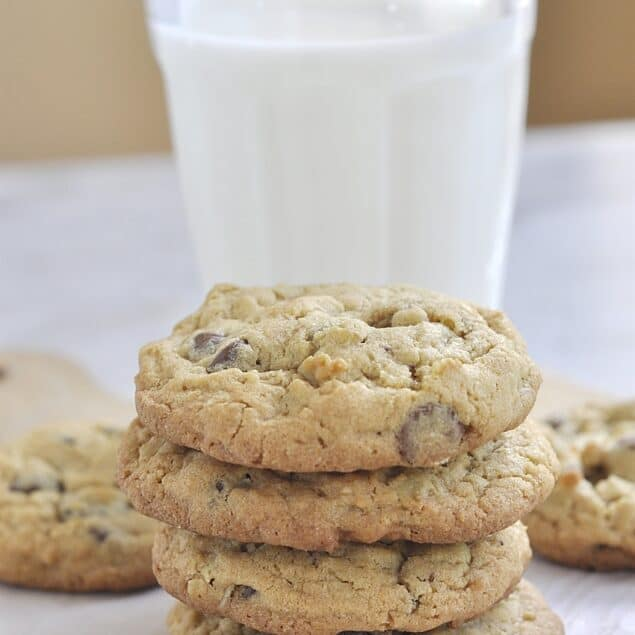 STACK OF oatmeal chocolate chip cookies
