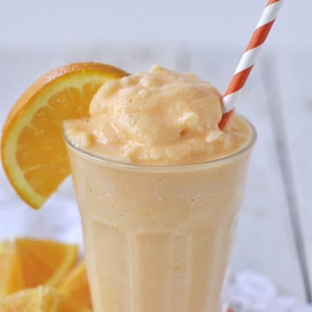 glass of orange freeze