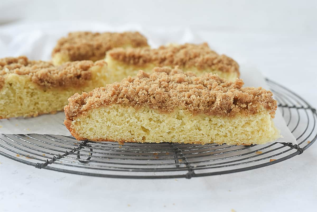 coffee cake on a cooling rack