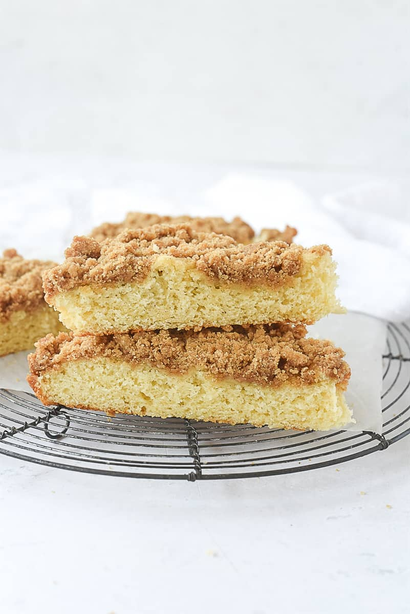 two pieces of coffee cake stacked up