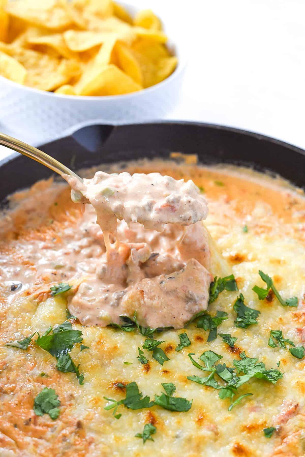 spoonful of chili con queso dip