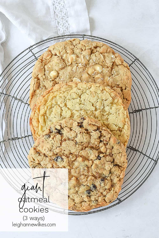 3 giant oatmeal cookies