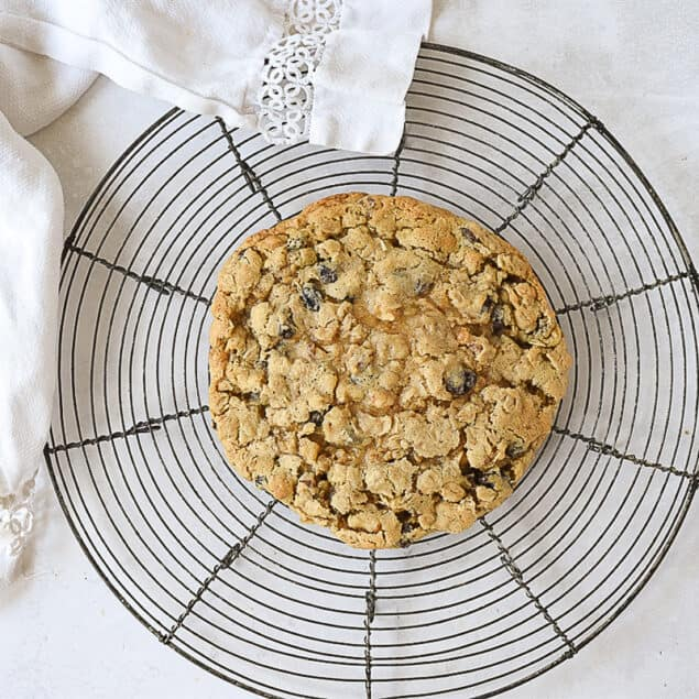 oatmeal raisin cookie on a cooling rack