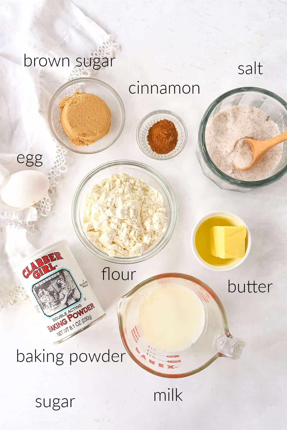 ingredients for cinnamon roll muffins