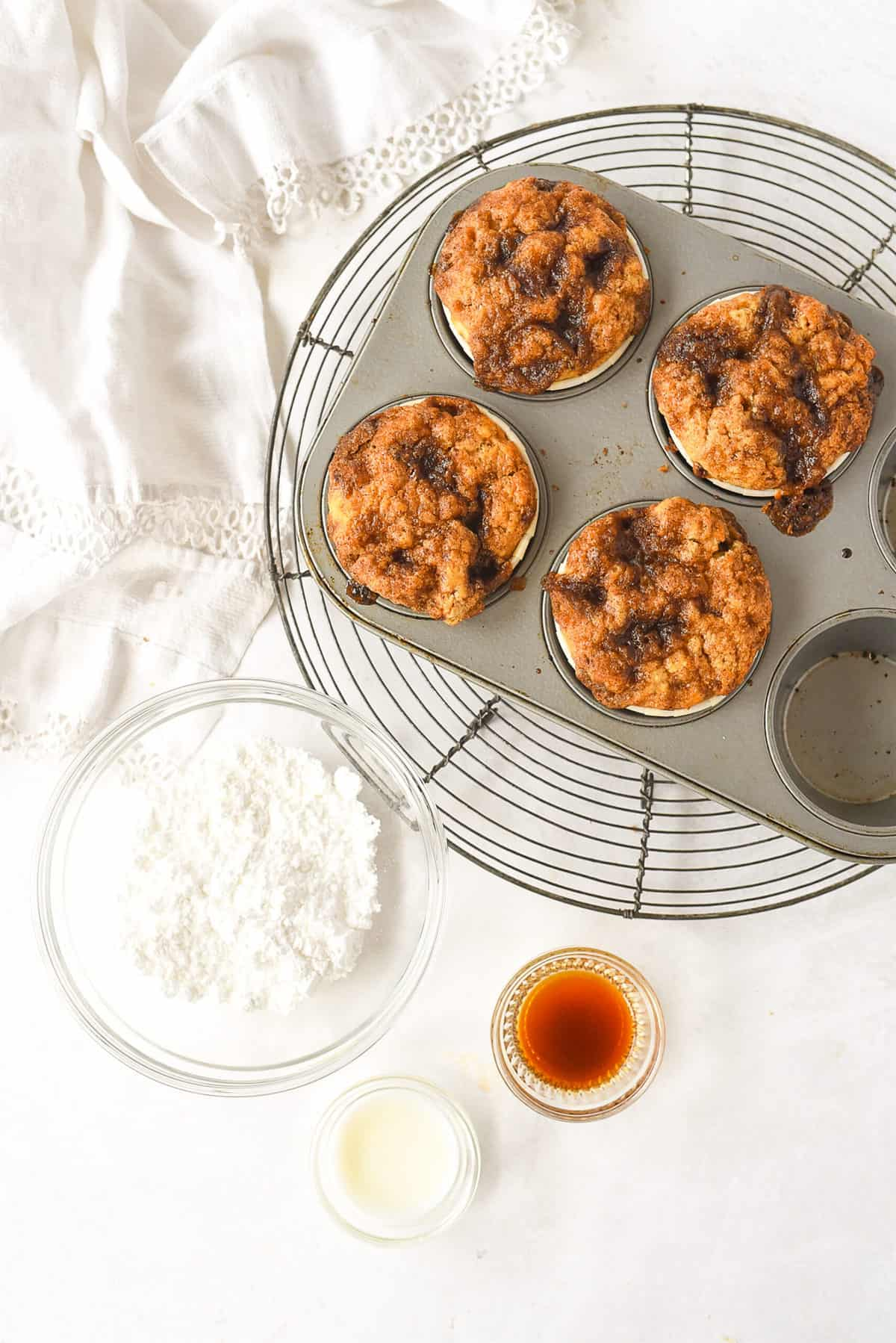 muffins and glaze ingredients